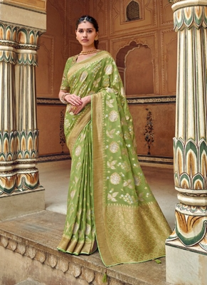 light green woven silk saree with blouse