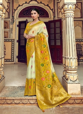 off white woven silk saree with blouse
