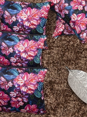 Blue & Pink Set of 5 Floral Square Cushion Covers