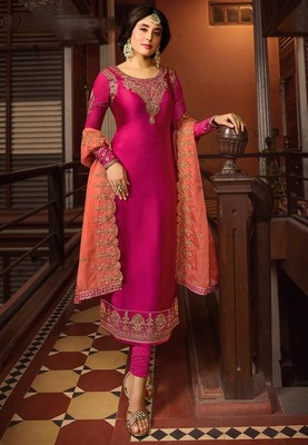 Pink Satin Georgette Straight Salwar Suit Semi Stitched
