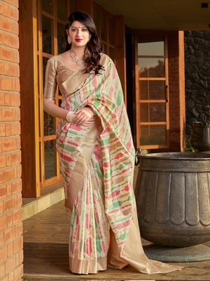 Off white woven banarasi silk saree with blouse