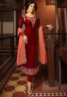 Red Satin Georgette Straight Salwar Suit Semi Stitched