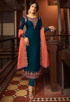 Blue Satin Georgette Straight Salwar Suit Semi Stitched