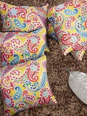 Multicoloured Set of 5 Ethnic Motifs Square Cushion Covers