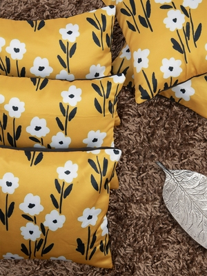 Mustard Yellow Set of 5 Floral Square Cushion Covers