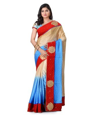 turquoise embroidered jacquard saree with blouse