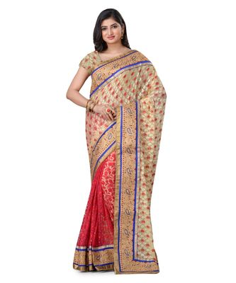 beige embroidered brasso saree with blouse