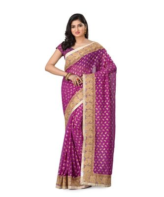 magenta embroidered jacquard saree with blouse