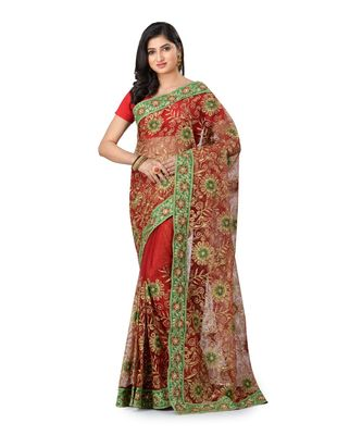 Red Embroidered Super_Net Saree With Blouse