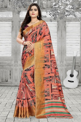 Peach printed silk saree with blouse