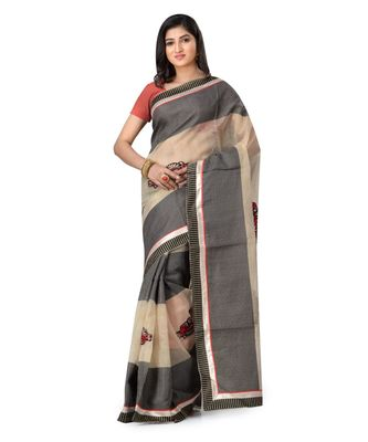Grey Embroidered Super_Net Saree With Blouse