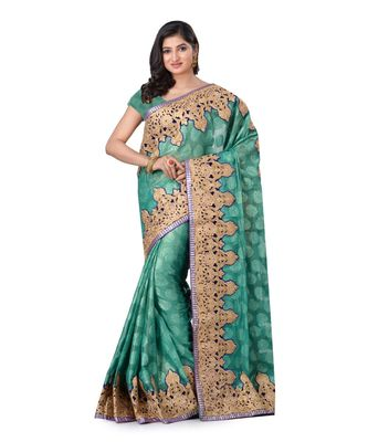 gold embroidered jacquard saree with blouse
