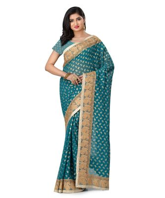 Blue embroidered brasso saree with blouse