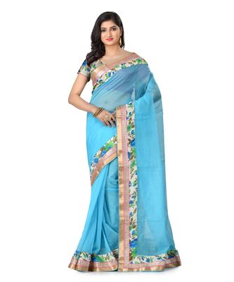 turquoise embroidered super_net saree with blouse