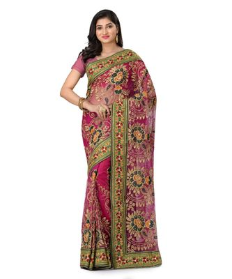 magenta embroidered super_net saree with blouse