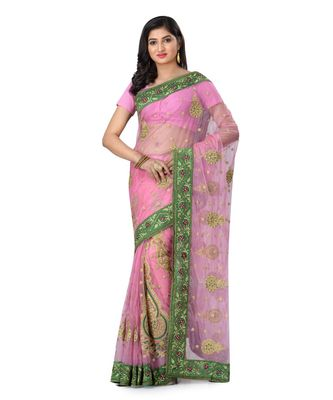 Pink Embroidered Super_Net Saree With Blouse