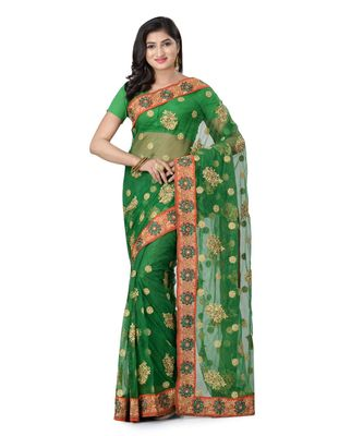 green embroidered super_net saree with blouse