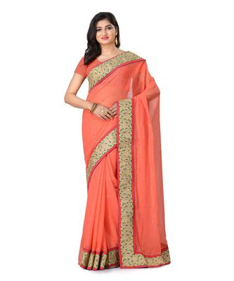 Pink Embroidered Shimmer Saree With Blouse