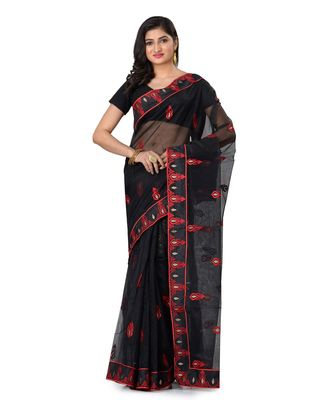 black embroidered super_net saree with blouse