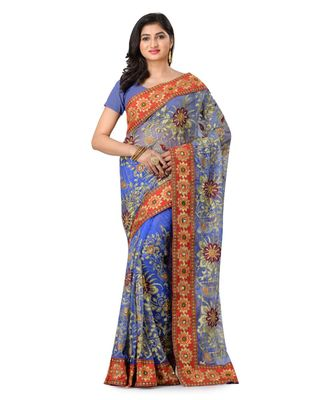 blue embroidered super_net saree with blouse