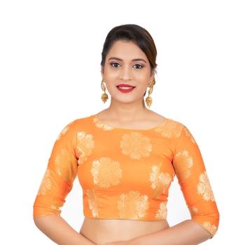 Banarasi Brocade Orange Readymade Saree Blouse