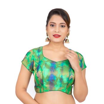 Green Banarasi Brocade Readymade Saree Blouse