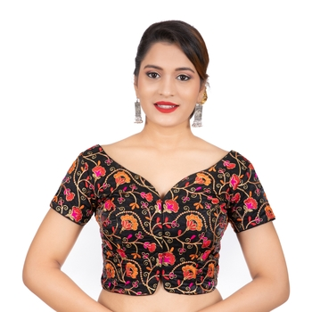 Dupion Silk Embroidered Black Readymade Saree Blouse