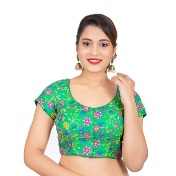 Dupion Silk Embroidered Green Readymade Saree Blouse