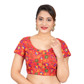 Dupion Silk Embroidered Red Readymade Saree Blouse