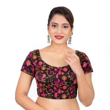 Dupion Silk Embroidered Black Readymade Saree Blouse