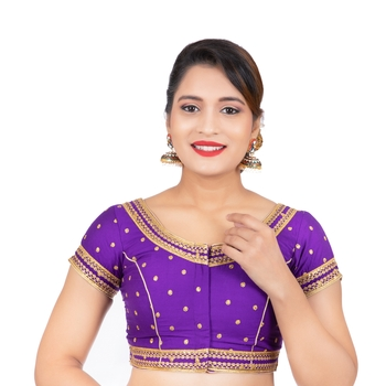 Dupion Silk Embroidered Purple Readymade Saree Blouse