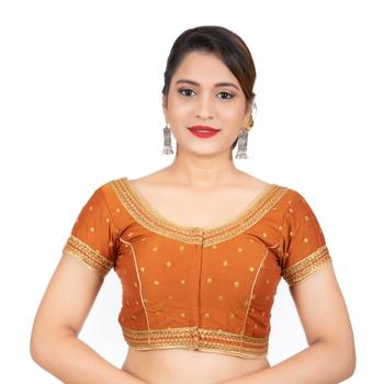 Dupion Silk Embroidered Mustard Readymade Saree Blouse