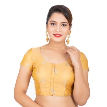 Dupion Silk Sequence Golden Readymade Saree Blouse