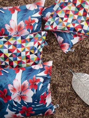 Multicoloured Set of 5 Floral Square Cushion Covers