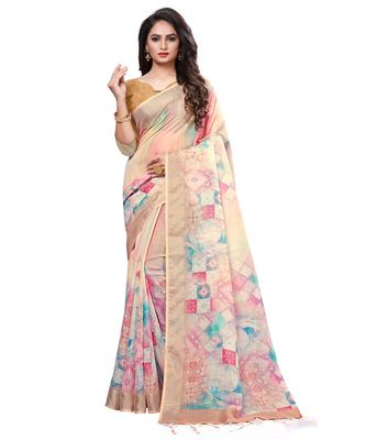 Cream printed linen saree with blouse