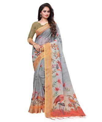 Grey printed linen saree with blouse