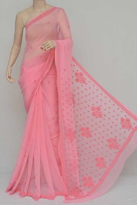 Peach Color, Hand Embroidered Lucknowi Chikankari Saree