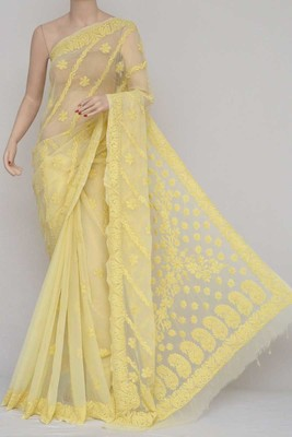 Yellow Color Hand Embroidered Lucknowi Chikankari Saree