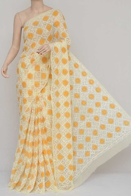 Yellow Color Tepchi Work Multithread Hand Embroidered Lucknowi Chikankari Saree