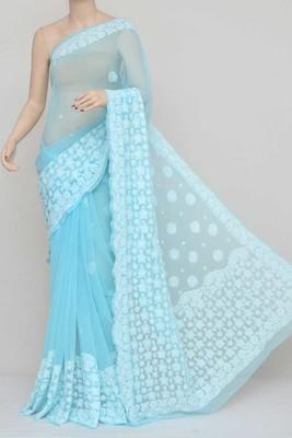 Blue Color Hand Embroidered Lucknowi Designer Chikankari Saree