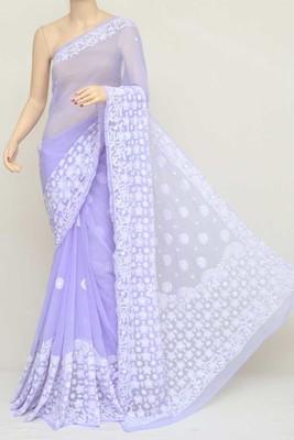 Lavender Color Hand Embroidered Work Lucknowi Designer Chikankari Saree