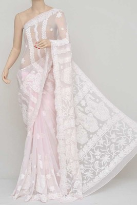 Baby Pink Colour, Hand Embroidered Work Lucknowi Chikankari Saree