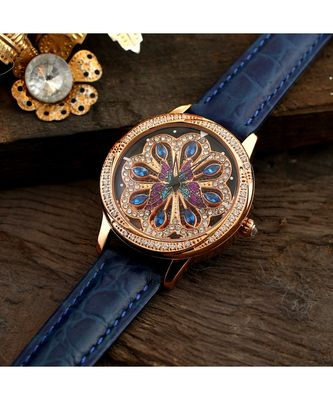 Blue Beautiful Butterfly Design Revolving Watch