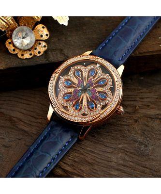 Blue Beautiful Butterfly Design Revolving Watch