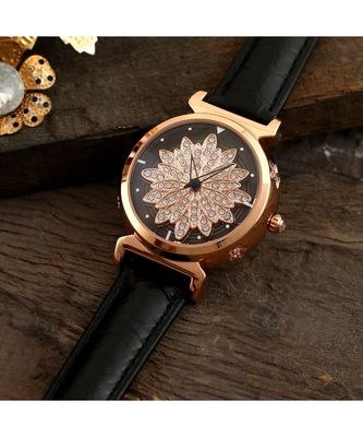 Black Flower Design Revolving Dail Watch