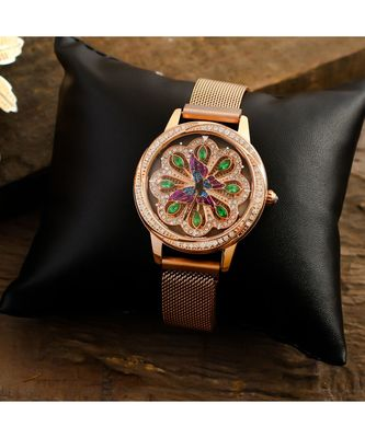 Rose Gold Butterfly Design Green Dail  Revolving Adjustable Magentic Watch