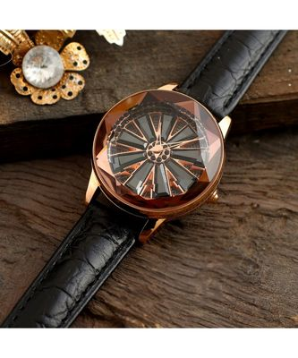Black Wheel  Design Revolving Dail Watch