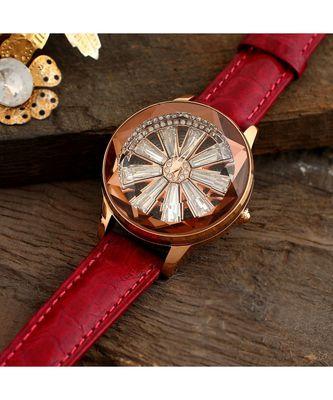Maroon Wheel Design Revolving Dail Watch