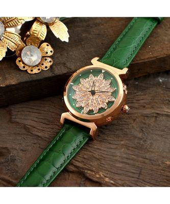 Green Flower Design Classy Revolving Dail Watch