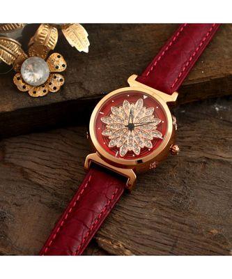 Magenta Flower Design Classy Revolving Dail Watch